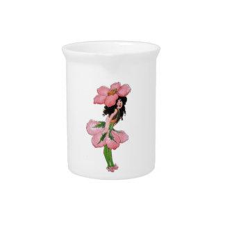 Pichet Fille vintage florale mignonne d'enfant de fleur