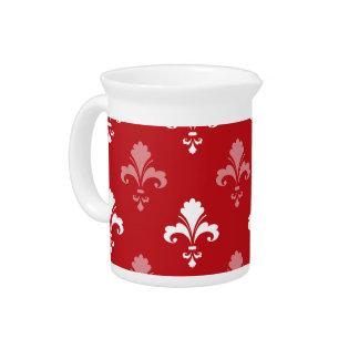Pichet Fleur-De-lis de rouge et blanc cramoisi