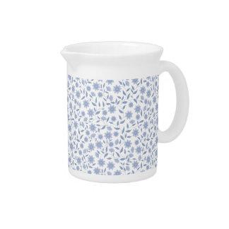 Pichet Fleurs bleues sur le motif blanc