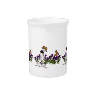 Pichet Papillons et fleurs dalmatiens de chiot