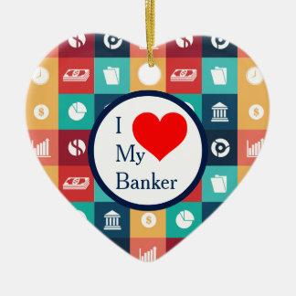 Pictogramme iconique de banquier professionnel ornement cœur en céramique