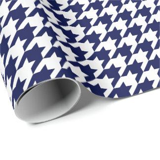 Pied-de-poule moyen de bleu marine et de blanc papier cadeau