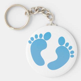 Pieds mignons bleus de bébé de maternité porte-clefs