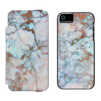 Pierre de marbre bleu-clair et grise à la mode coque-portefeuille iPhone 5 incipio watson™