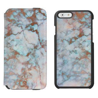 Pierre de marbre bleu-clair et grise coque-portefeuille iPhone 6 incipio watson™