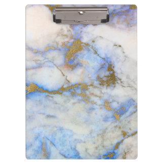 Pierre de marbre grise moderne de bleu et d'or porte-bloc