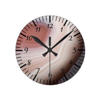 Pierre impressionnante de remous d'agate fraîche horloge ronde
