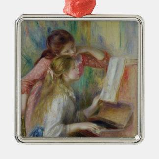 Pierre jeunes filles de Renoir un | au piano Ornement Carré Argenté