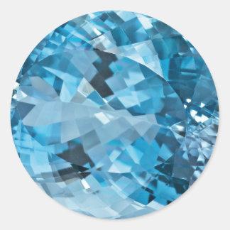 Pierre porte-bonheur bleu vert de mars de pierre sticker rond