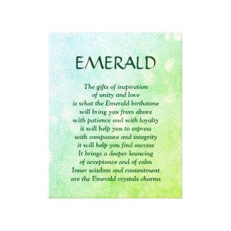 Pierre porte-bonheur verte - toile d'art de poème