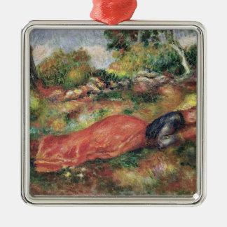 Pierre une jeune fille de Renoir | dormant sur Ornement Carré Argenté