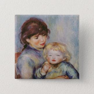 Pierre une maternité de Renoir |, enfant avec un Badge Carré 5 Cm