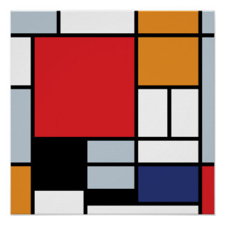 Piet Mondrian - composition avec le grand avion Poster
