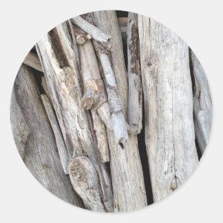 Pile pour la plage rustique de bois de flottage de autocollant rond