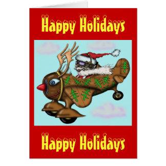 Pilote drôle de Père Noël sur la carte de Noël