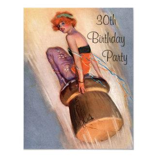 Pin de cru vers le haut de fille et anniversaire carton d'invitation 10,79 cm x 13,97 cm