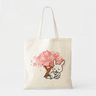 Pin de lapin de mère et d'enfant sac en toile budget