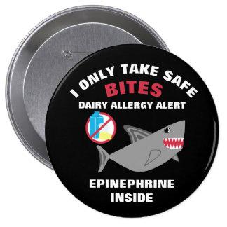 Pin personnalisé d'alerte d'allergie de laiterie badge rond 10 cm