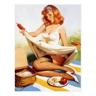 Pin vilain vintage de pique-nique vers le haut de carte postale