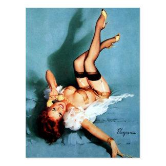 Pin vintage de Gil Elvgren VERS LE HAUT de fille Carte Postale