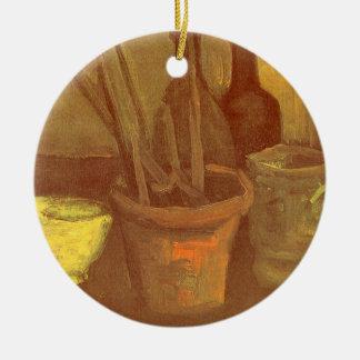 Pinceaux toujours de la vie dans un pot Vincent Ornement Rond En Céramique