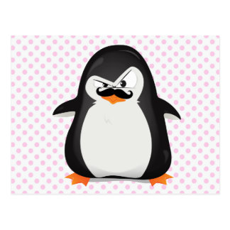 Pingouin blanc noir mignon et moustache drôle carte postale