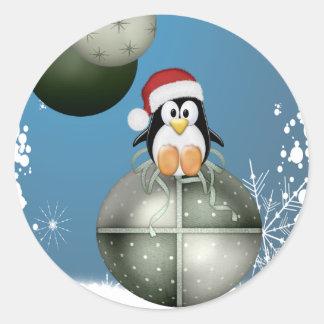 Pingouin de Noël Sticker Rond