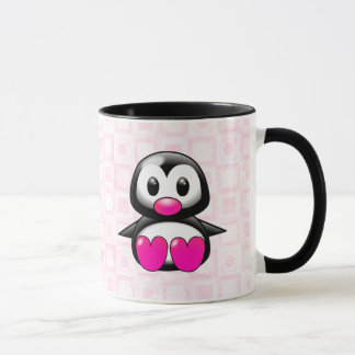 Pingouin rose mignon mug