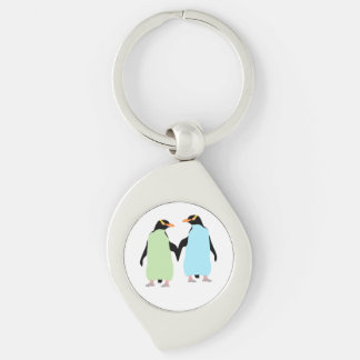 Pingouins de gay pride tenant des mains porte-clés