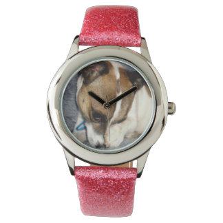 Pink_Fox_Terrier, _Glitter_Kids_Wrist_Watch. Montre