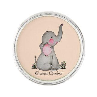 Pin's L'éléphant mignon de bébé d'aquarelle avec
