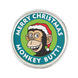 Pin's Salutation grossière de Noël de singe