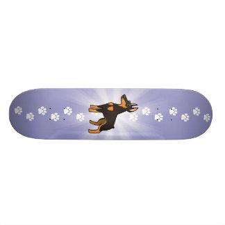 Pinscher de dobermann de bande dessinée (oreilles skateboard old school  21,6 cm