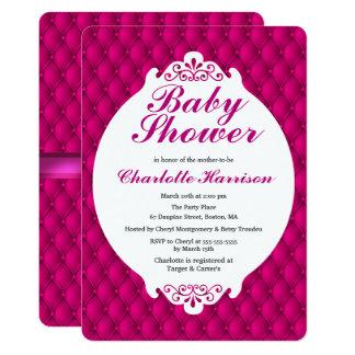 Pintucks rose Girly et baby shower rose de ruban Carton D'invitation 12,7 Cm X 17,78 Cm