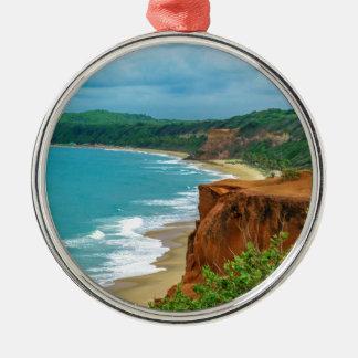 Pipa aérien Brésil de scène de paysage marin Ornement Rond Argenté