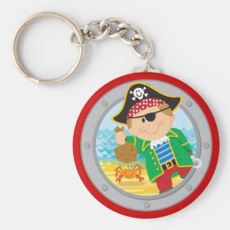 Pirate et crabe porte-clé rond