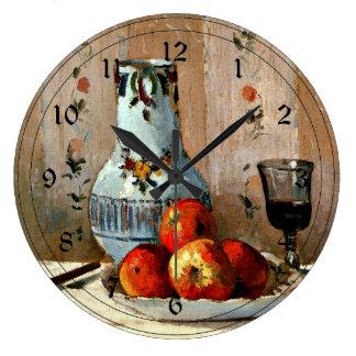Pissarro - la vie toujours avec les pommes et le grande horloge ronde
