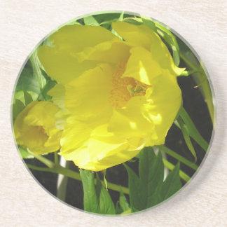 Pivoine Yellow.coaster d'arbre Dessous De Verre En Grès
