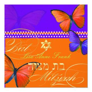 PixDezines rétro Papillon, bat mitzvah Carton D'invitation 13,33 Cm