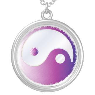 PixDezines Yin Yang, Fuschia Zilver Vergulden Ketting