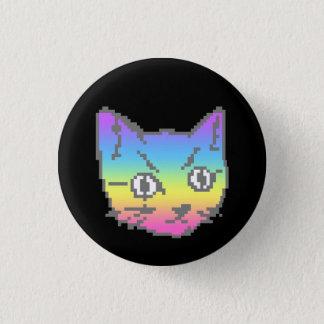 Pixel en pastel 8bit d'arc-en-ciel de chat de badge rond 2,50 cm