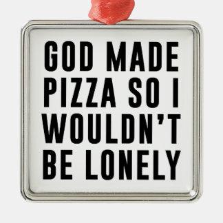 Pizza isolée ornement carré argenté