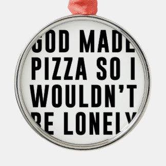 Pizza isolée ornement rond argenté
