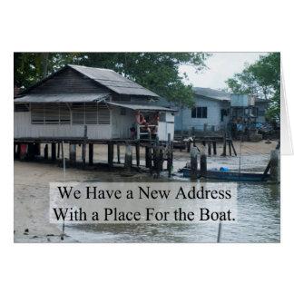 Plaats voor de Grappige Adreswijziging van de Boot Briefkaarten 0