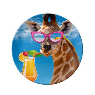 Plage de girafe - girafe drôle assiette en porcelaine