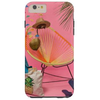 Plage moderne tropicale installée dans le rose coque iPhone 6 plus tough