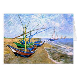 Plage Saintes-Maries (F413) de bateaux de pêche de Carte De Vœux