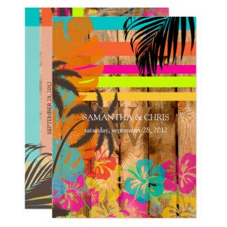 Plage tropicale rustique de PixDezines luau/ Carton D'invitation 12,7 Cm X 17,78 Cm