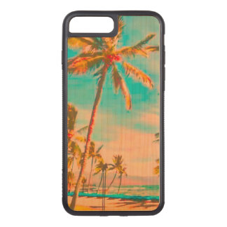 Plage vintage/Hawaï/Teal de PixDezines Coque Carved iPhone 8 Plus/7 Plus