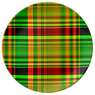 Plaid de tartan rouge et vert assiette en porcelaine